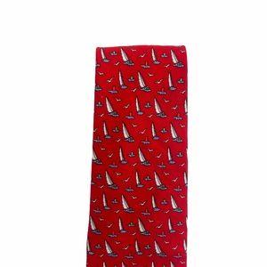 Vineyard Vines Silk Tie Sailboats Red
